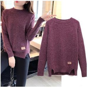 2018 Women Sweaters Pullovers Autumn Winter Pull Femme Solid Pullover Basic Teesuotelab-uotelab