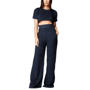 2018 Autumn Winter Woman warm bodysuit Wide Pant V-neck Loose Casualuotelab-uotelab