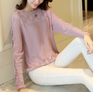 Fashion Women Spring Autumn Pullovers Long Sleeve Slim Lady's Knitted Sweaters Laceuotelab-uotelab