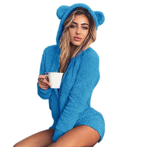 Kawaii Sweet Fleece Hoody Cat Ear Body New Jumpsuits Women Solid Ladyuotelab-uotelab