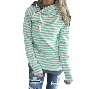 New Autumn Winter Casual Women Patchwork Striped Pullover Warm Long Sleeve sweatshirtuotelab-uotelab