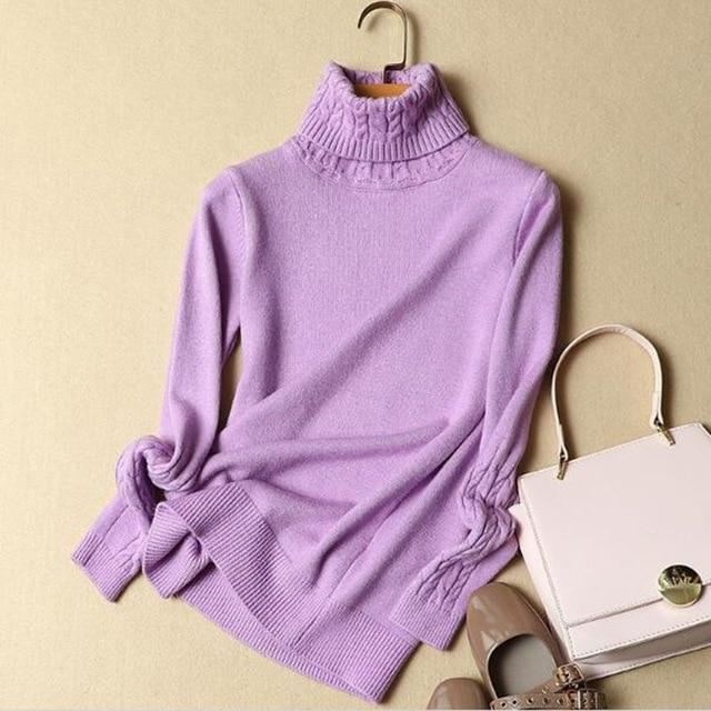 2018 Korean Autumn and Winter Women Sweater Long Sleeve Turtleneck Knitted Pulloveruotelab-uotelab