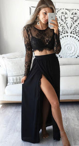 2 Pcs Top and Skirt Sets Sexy Long Sleeve Lace Short Topsuotelab-uotelab
