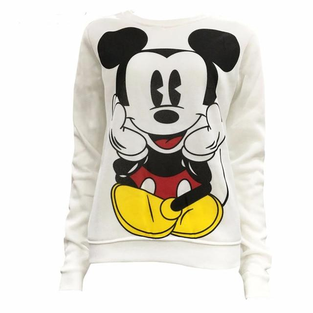 Women Sweatshirts Hoodies Character Mickey Mouse Printed Casual Pullover Cute Jumpers Longuotelab-uotelab