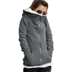 Winter Warm Hoodies Coat Female Long Sleeve Zipper Jacket Outerwear Femaleuotelab-uotelab