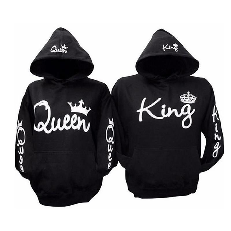 King Queen Women Men Black Hoodies Letter Sweatshirt Fashion Lovers Couplesuotelab-uotelab