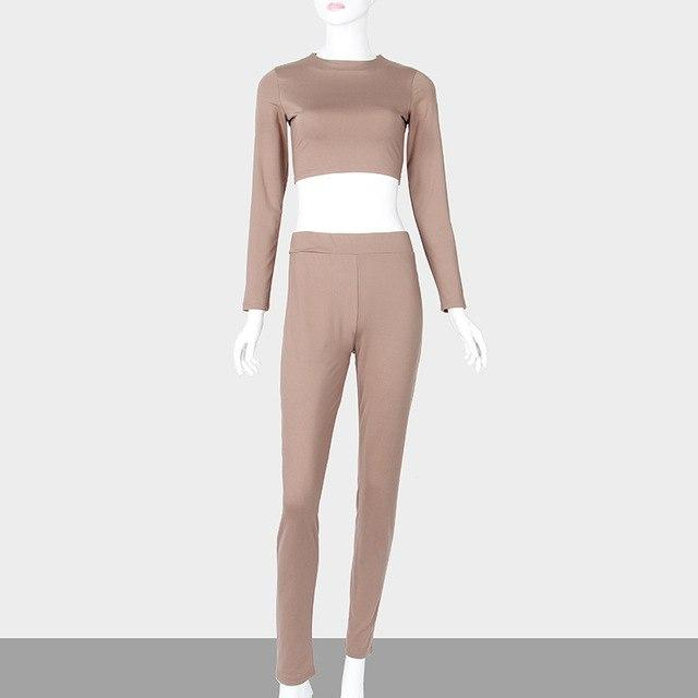2018 Two Piece Set Autumn Winter Sexy Skinny Pants Crop Top Womenuotelab-uotelab