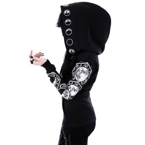 Women Black Hooded Zipper Casual Hooded Pockets Letter Moon Print Gothicuotelab-uotelab