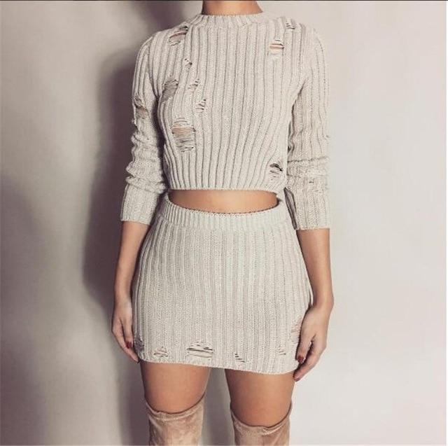 Women Sexy Autumn Knitted Tops and Mini Dress 2 Piece Set Fashionuotelab-uotelab