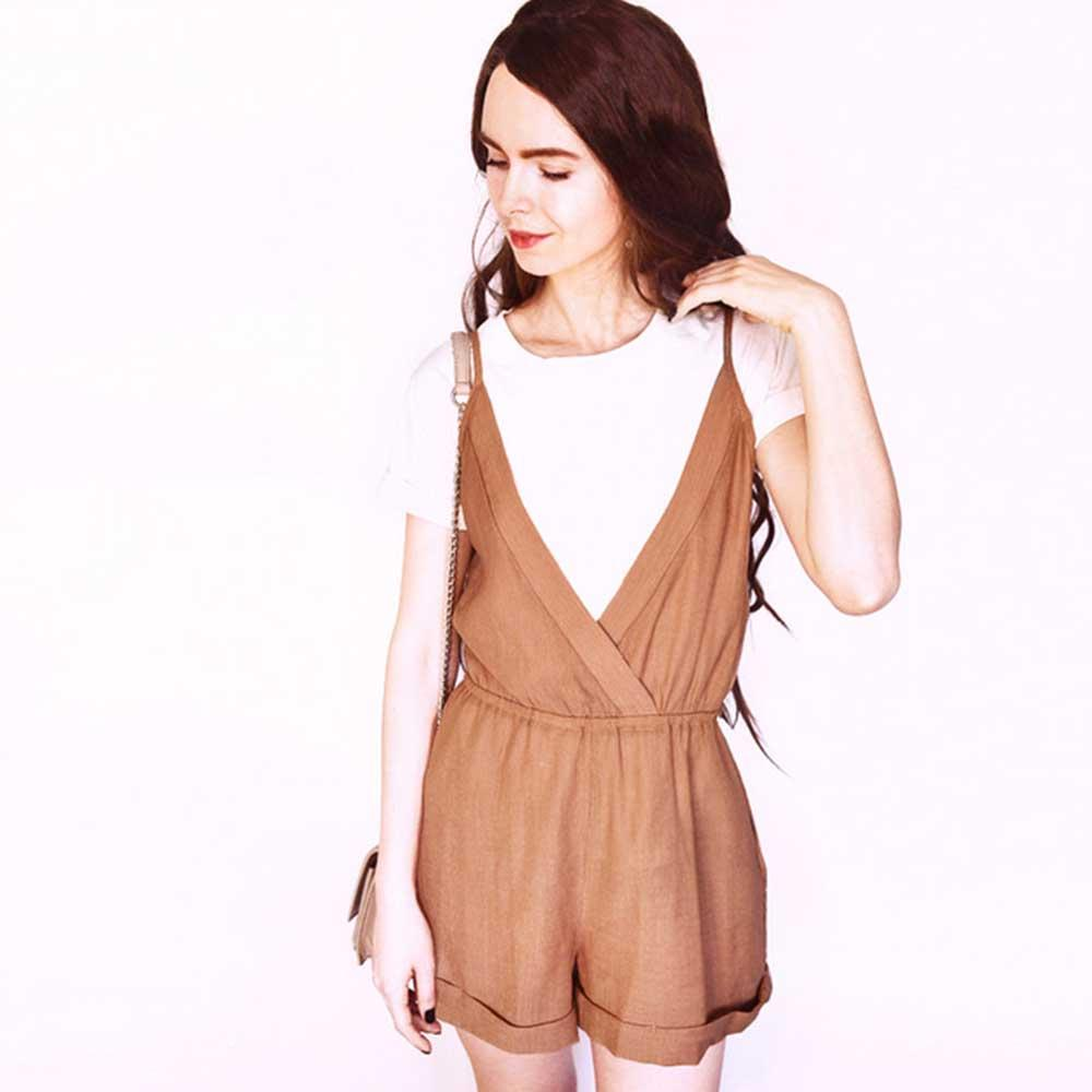 Cross Front Rolled Up Hem Romper Women Rompers Solid Jumpsuit Summeruotelab-uotelab