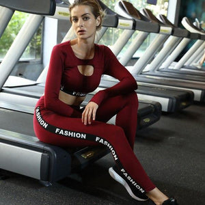 2019 Letter Fashion Stripe printed Women Suit Sets Sexy Fitness Long Sleeveuotelab-uotelab
