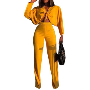 2018 Casual Red Yellow Two Pieces Summer Outfits Lace Up Crop Topuotelab-uotelab