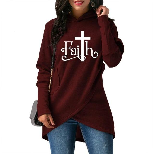 High Quality Large Size 2018 New Fashion Faith Print Sweatshirt Femmes Sweatshirtsuotelab-uotelab