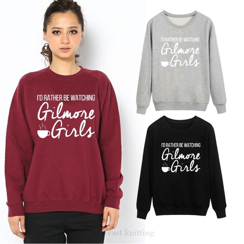WS0106 Women's Round Neck Pullover I'd Rather Be Watching Gilmore Girls Sweatshirtuotelab-uotelab