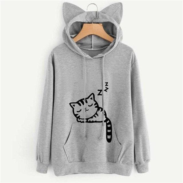 New Style Women Hooded Sweatshirt Cartoon Cat Printed Animal Casual Hoodie Autumnuotelab-uotelab