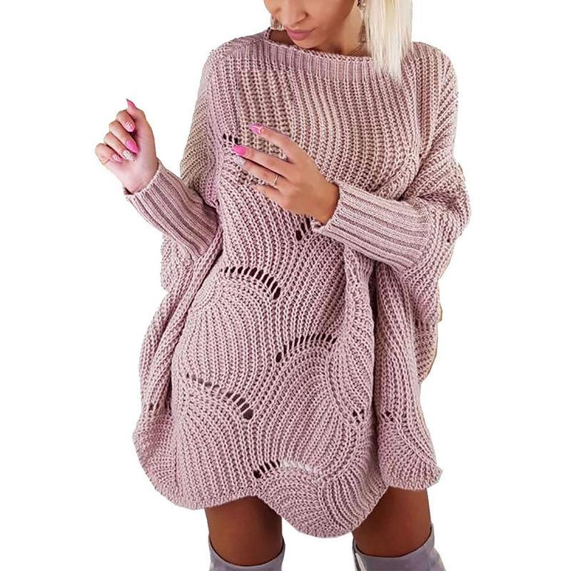 2018 Knitted Cloak Sweater Women Casual Loose Shawl Autumn Winter Streetwear Ponchouotelab-uotelab