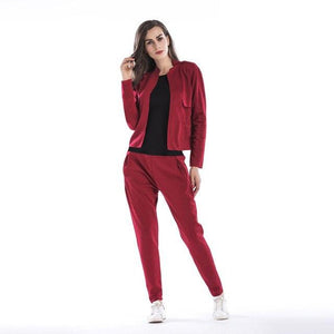 New Two Piece Set Bomber Long-sleeved Jacket + Trousers Piece Set Stripeduotelab-uotelab