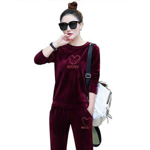 2018 winter women's new pleuche fashion leisure embroidery fleece casual velvet suitsuotelab-uotelab