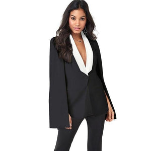 New Women Cape Cloak OL Jacket Sleeveless Irregular Hem Pockets Blazer Suituotelab-uotelab