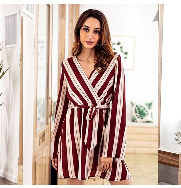 Sexy Striped Jumpsuit Romper Women V Neck Long Sleeve Overalls Beach Casualuotelab-uotelab