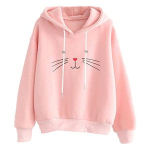 Cat Printing Women Sweatshirt Long Sleeve 2018 Winter Pullover Loose Women Hoodiesuotelab-uotelab