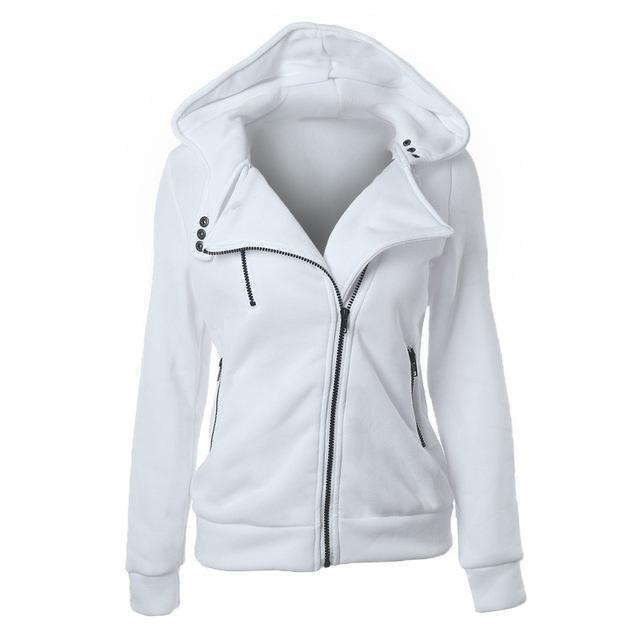 Hoodies Sweatshirt Women Fashion Long Sleeve Hooded Jackets Zipper Patchwork Jumperuotelab-uotelab
