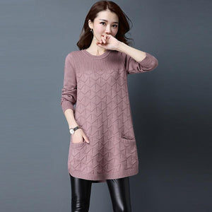 Casual Sweater Pullover For Women Long Round Neck Knitting Autumn blackuotelab-uotelab