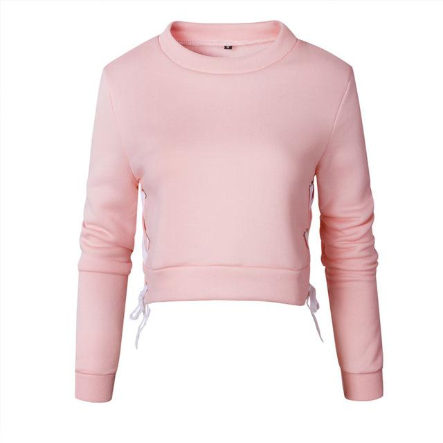 2019 Spring Autumn Women Sexy Slit Lacing Pullover Jumper Hoody Solid Longuotelab-uotelab