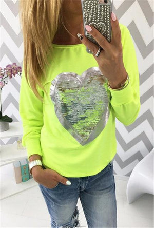 2019 Spring Streetwear Sweatshirts Women Lovely Sequined Heart Tracksuits Pullovers Casual Longuotelab-uotelab