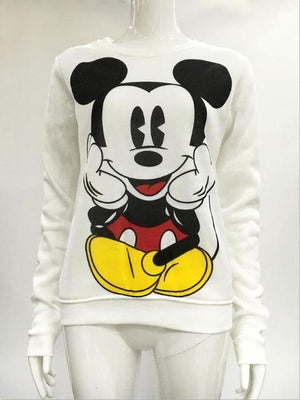 Women Pullovers Mickey Mouse Print Hoody Female Long Sleeve Hoodies Sweatshirts O-Neckuotelab-uotelab