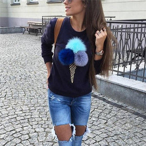 2018 New Women Jumper Sweatshirt Colorful Ice Cream 3D Artificial Fur Plushuotelab-uotelab
