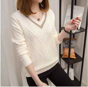 Women sweaters 2018 Spring Autumn hollow sweaters womens loose knitted sweater femaleuotelab-uotelab
