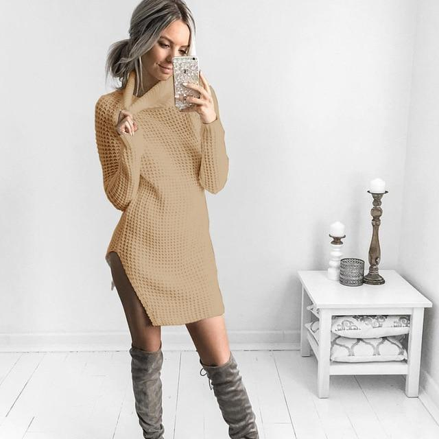 LITTHING Vestidos Autumn Winter 2018 New Women Sweater Dress Rib Solid Coloruotelab-uotelab