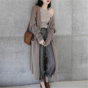 2018 Women Cardigan Loose Plus Size Long Sweater Casual Soliduotelab-uotelab