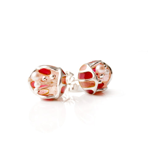Sweet pink glass enamel sterling silver Blossom studs with fresh water pearls by Little Rambutan Jewellery