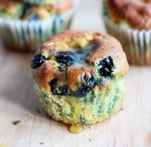 Blue Corn Blueberry Muffins with Honey Butter