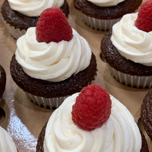 Chocolate Raspberry Filled Graduation Cupcakes