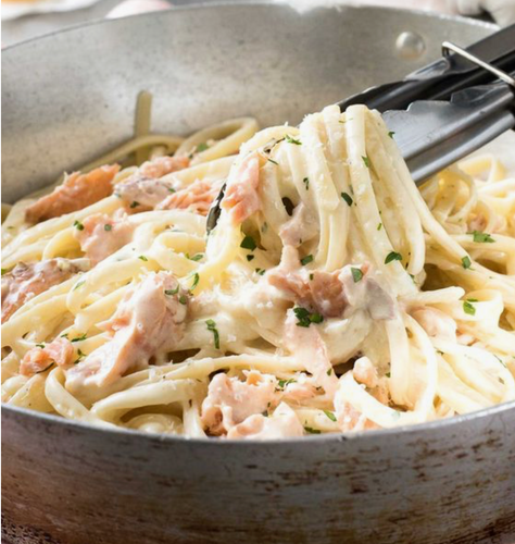 The Best Fettuccine Alfredo with Salmon
