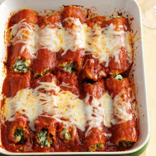 Three Cheese Spinach Stuffed Manicotti