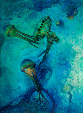 Dreaming Jellies Mixed Media Canvas Giclée