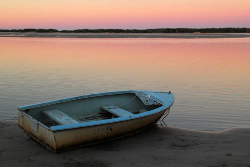 Kingsville St low tide canvas print - boat and sunset in pastel colours stretched onto canvas