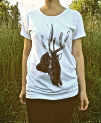 Painted Street - Deer Head - Womens T-Shirt