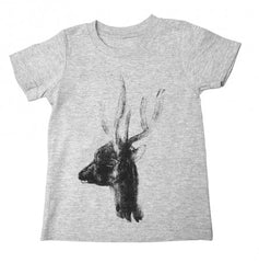 Painted Street - Deer Head Marle (Grey) - Kids T-Shirt