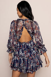sapphire dress in navy floral