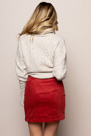 Corduroy Skirt In Rust
