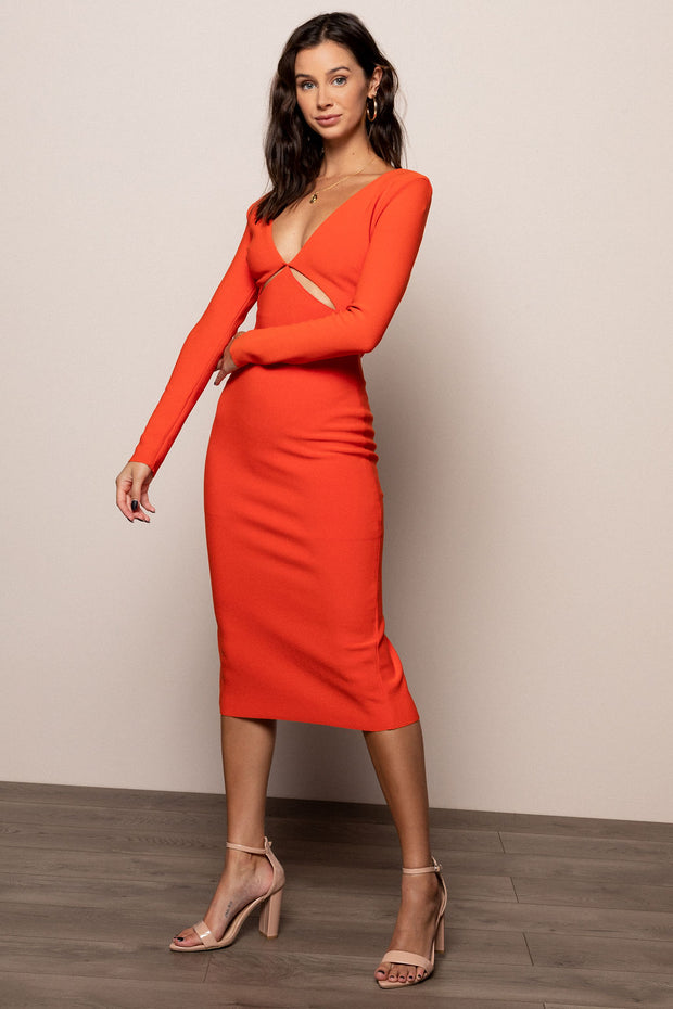 Ulla Longsleeve Cut Out Midi Dress