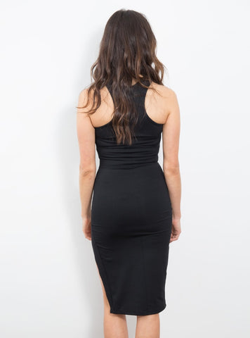Racer Front Midi Dress Black