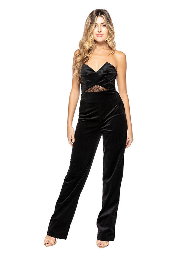 Johan Velvet Jumpsuit in Black