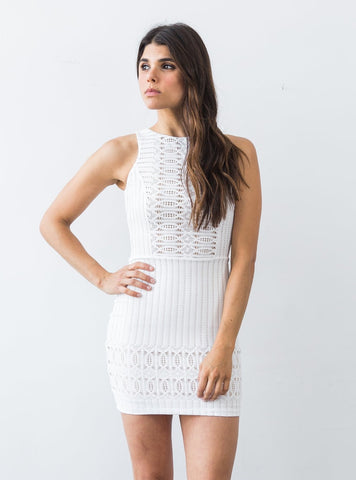 Spiral Lace Dress White