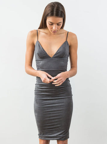Suede Midi Dress Grey